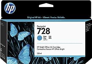 HP 728 Cyan 130-ml Genuine Ink Cartridge (F9J67A) for DesignJet T830 MFP & T730 Large Format Plotter Printers