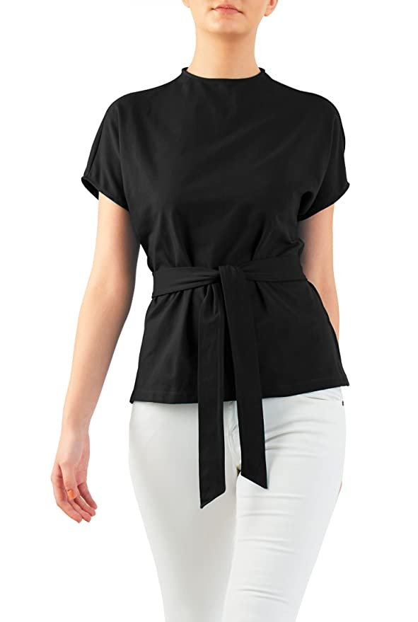 Shop 1960s Style Blouses, Shirts and Tops eShakti Womens Cotton knit sash tie top $41.95 AT vintagedancer.com
