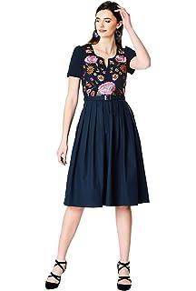 d5e2961a242 eShakti Women s Floral embellished cotton knit tunic  Amazon.co.uk ...