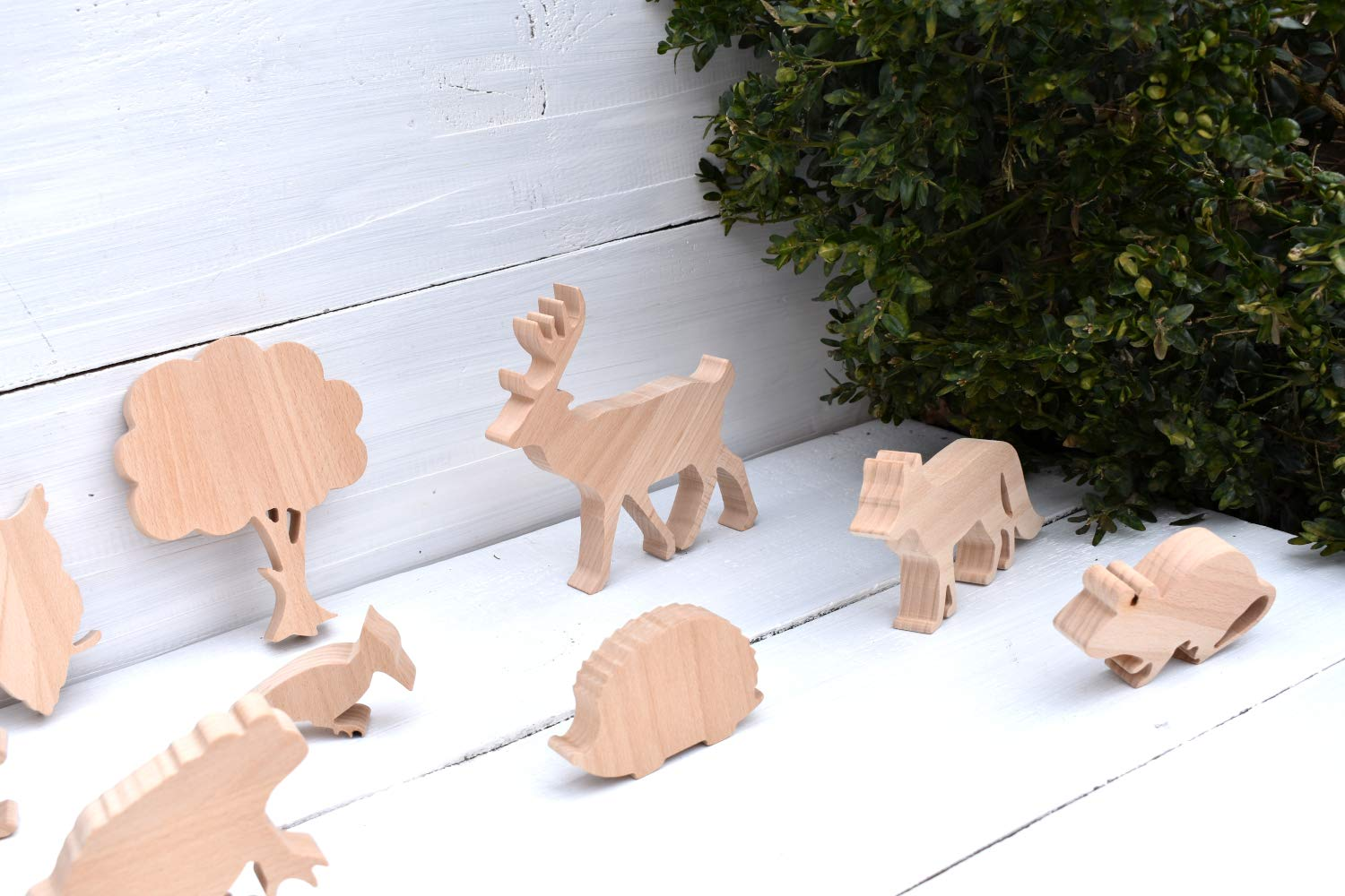 SET 8 Wooden Toys Forest Wild Animals Play Set For Kids Construction Game Organic Wood Toy Figures Eco-friendly Gifts For Children DIY Wolf