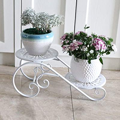 LRW White Tieyi Flower Stand Multi-Storey Indoor Space-Saving Balcony Decoration Living Room Creative Flower Pot Stand: Garden & Outdoor