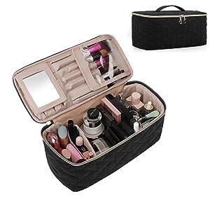 BAGSMART Makeup Bag Cosmetic Bag Large Toiletry Bag Travel Bag Case Organizer for Women, Black