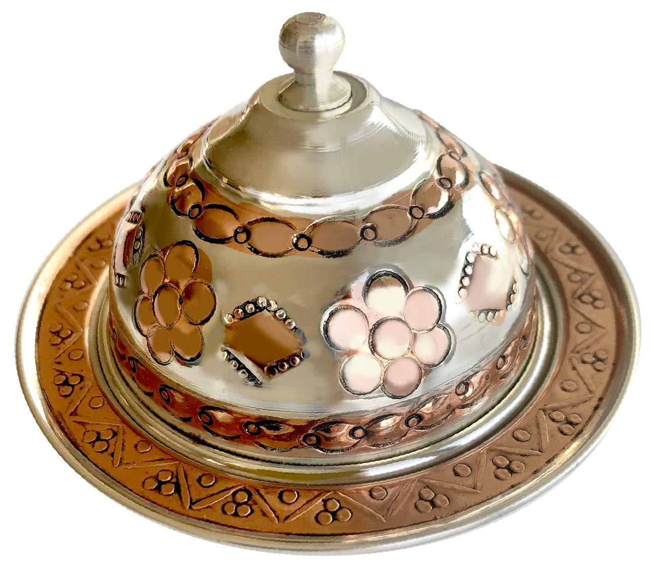 Copper Turkish Coffee Set, Six Greek Armenian Arabic Espresso Porcelain Cups Tray Sugar Bowl, with Silver-plate detail, Handcrafted by Mandalina Magic by Mandalina Magic (Image #6)
