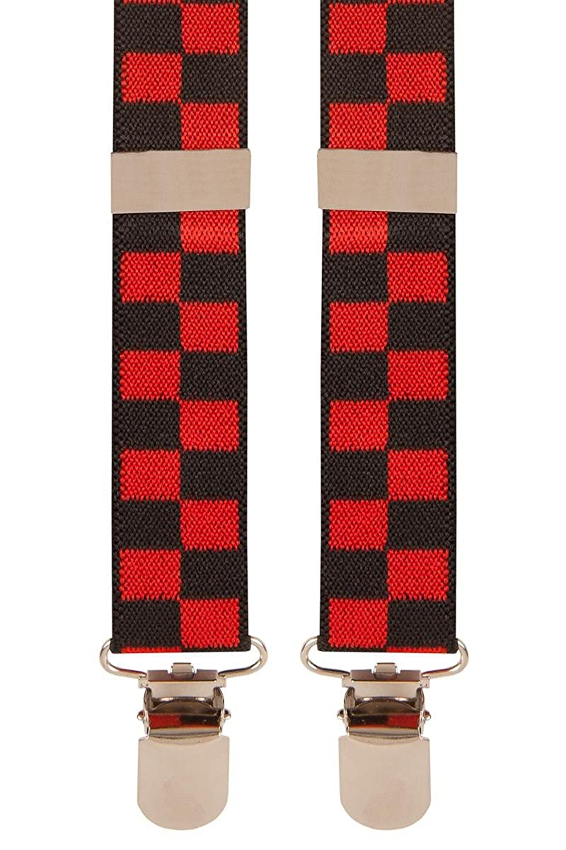 Braces for Mens/Boys Trousers Colour Red & Black Check
