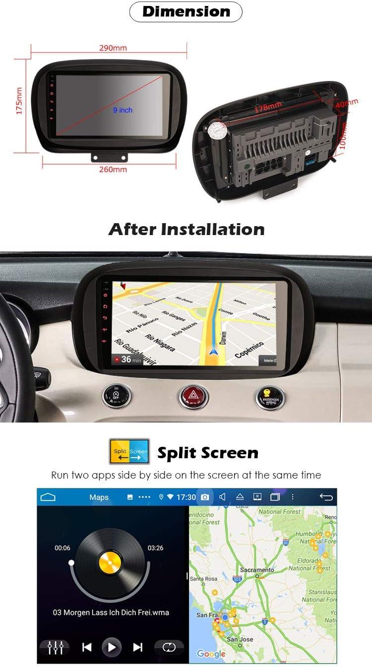 DVB-T ERISIN 9 pollici Android 10.0 Autoradio Lettore multimediale per Fiat 500X Supporto Carplay Android Auto DSP GPS Navigatore satellitare Bluetooth Wifi 4G DAB T2 TPMS 8-Core 4GB RAM+64GB ROM