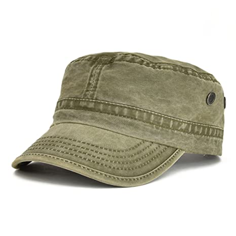 d49191ce884 VOBOOM Washed Cotton Military Caps Cadet Army Caps Unique Design (Army  Green) at Amazon Men s Clothing store