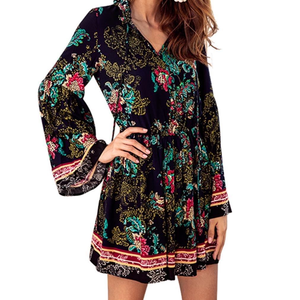Siviki Women Long Flare Sleeve Top Sexy Long Sleeve Print Short V-neck Lace Up Waist Dress (S)