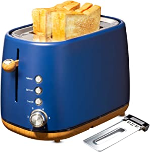 Kichele Toaster 2 Slice Toasters Retro Stainless Steel with Extra Wide Slot, Removable Crumb Tray, Reheat Defrost Cancel Function for Bread, Blue (Renewed)