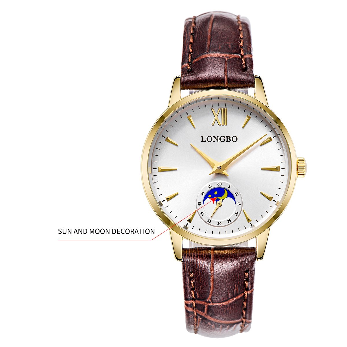 25abd19aa4a Amazon.com  LONGBO Casual Women s Gold Plated Sun Moon Phase Roman Numeral  Business Watch Brown Leather Band Dress Wristwatch Waterproof Date Couple  ...