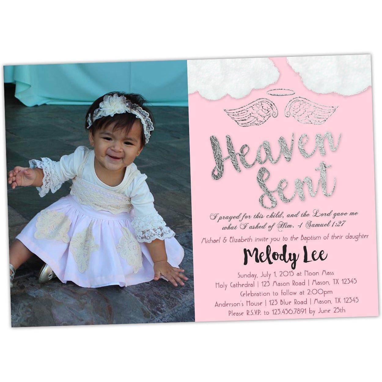 Amazoncom Pink Angel Baptism Invitation Heaven Sent Girl