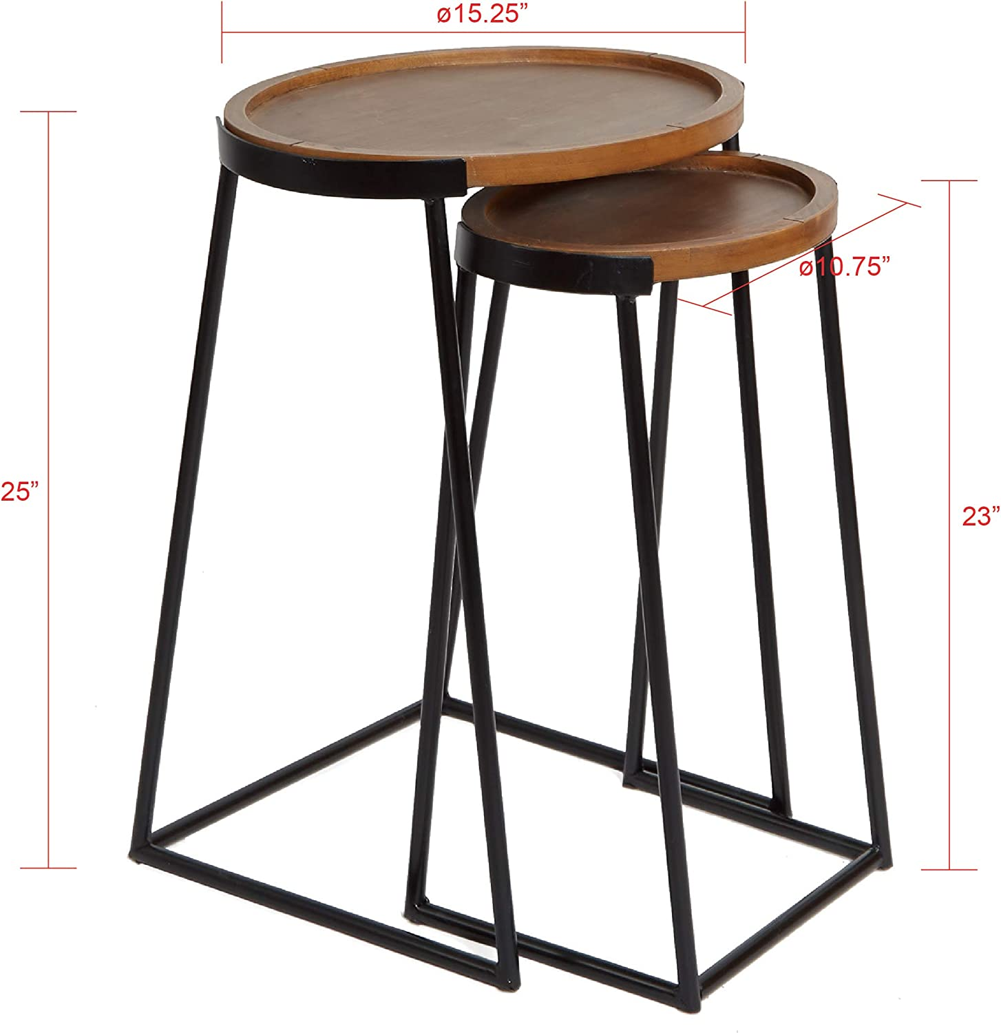 Silverwood Nesting Side Table, Black Metal and Dark Wood: Kitchen & Dining