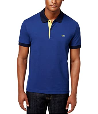 5852d1f9b Lacoste Mens Colorblocked Rugby Polo Shirt Blue 3XL at Amazon Men s ...