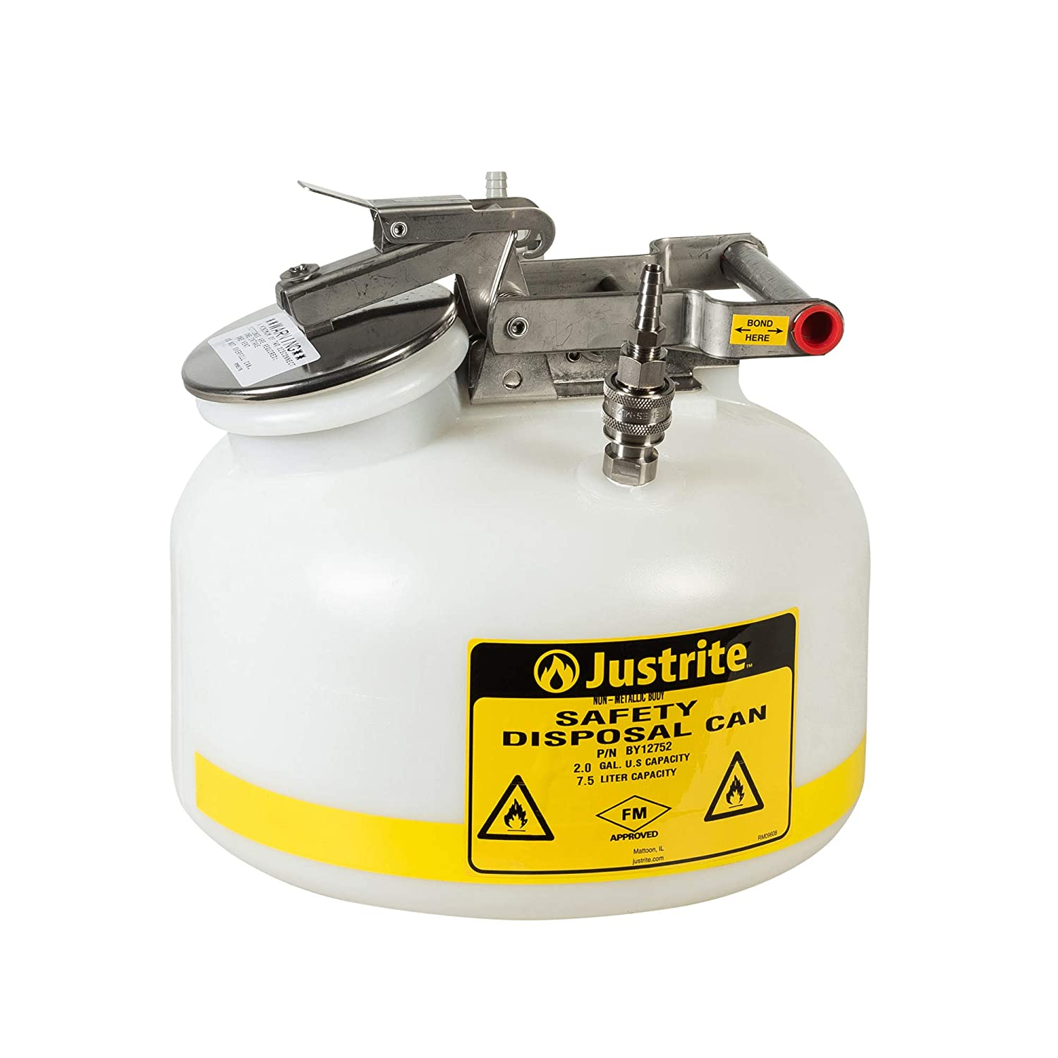 Justrite PP12752 Centura Disposal Polyethylene Prefabricated Quick-Disconnect Safety Can with Polypropylene Fitting, 2 Gallon Capacity