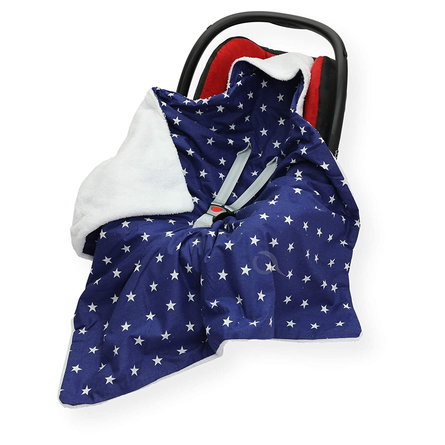 Double - Sided CAR SEAT Blanket/Cover / COSYTOES - FOOTMUFF 100 x 100cm Hooded Blanket with SEAT Belt Holes (SM Star at Grey/b Pink) OLO Direct Ltd