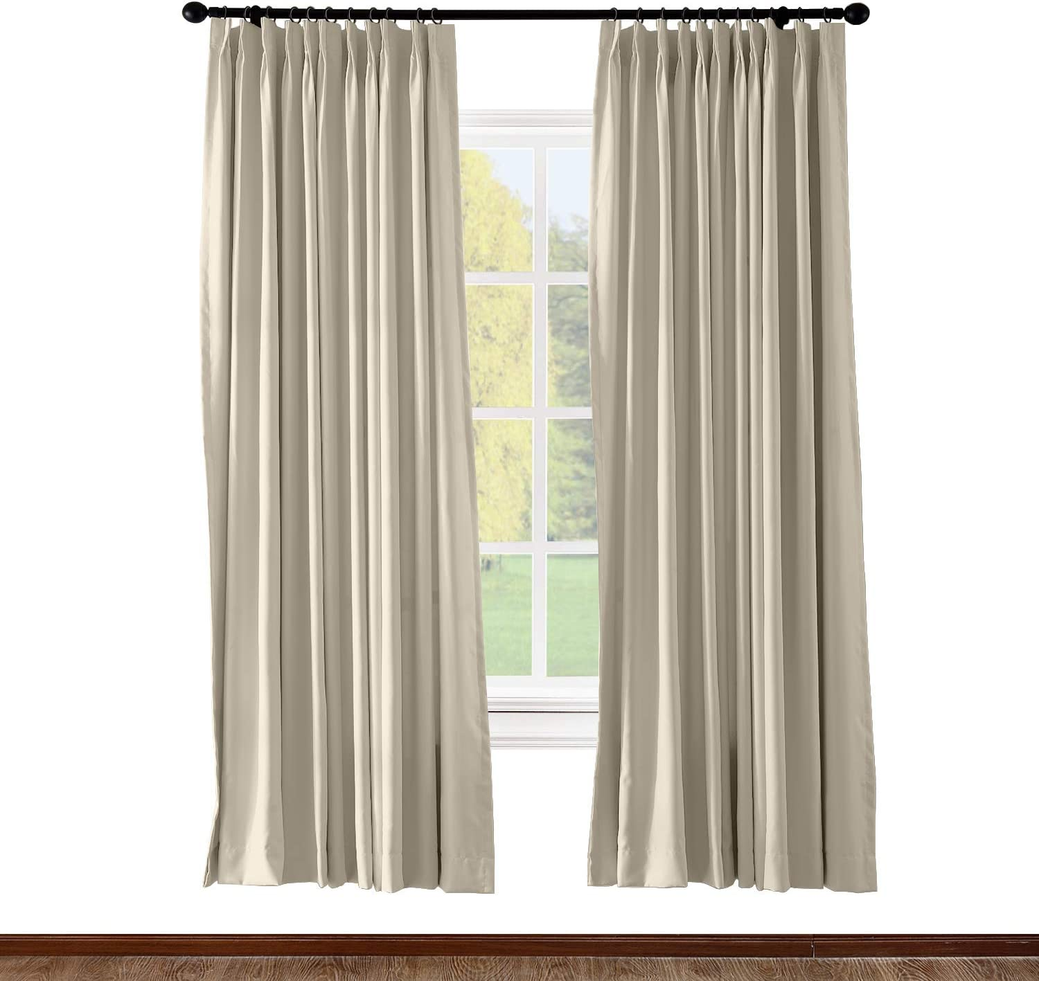 Amazon Com Chadmade Pinch Pleated Curtain Solid Thermal Insulated Blackout Patio Door Panel Drape For Traverse Rod And Track Beige 84w X 84l Inch 1 Panel Kitchen Dining