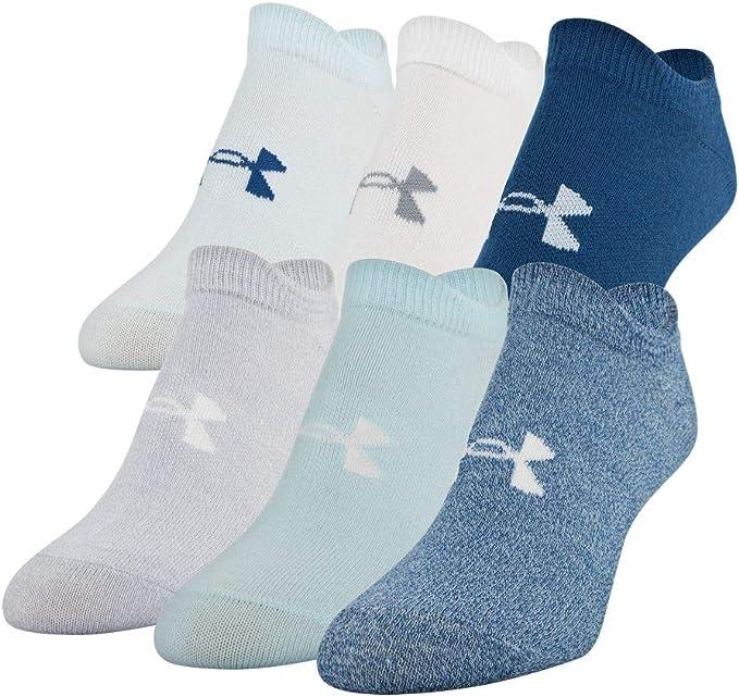 Under Armour Women's Essential 2.0 No Show Socks, 6-Pair, Petrol Blue Assorted, Medium