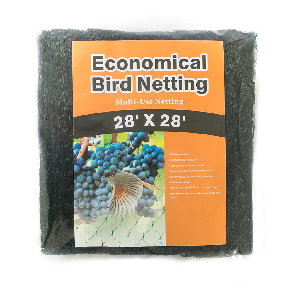 Gardener House  Economical Anti-Bird Netting -Large Size and Ligtwieght For Outside Crops-Black,28' x 28'
