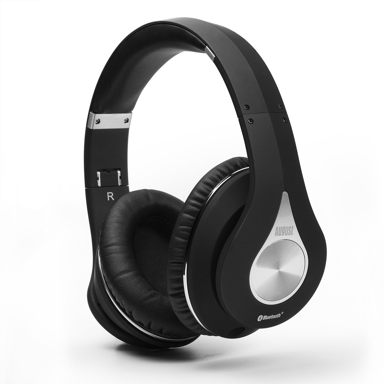 August EP640 Bluetooth Wireless Stereo NFC Headphones with 3.5mm Wired Audio In, Rechargeable Battery, NFC Tap To Connect and Built-in Microphone - Black
