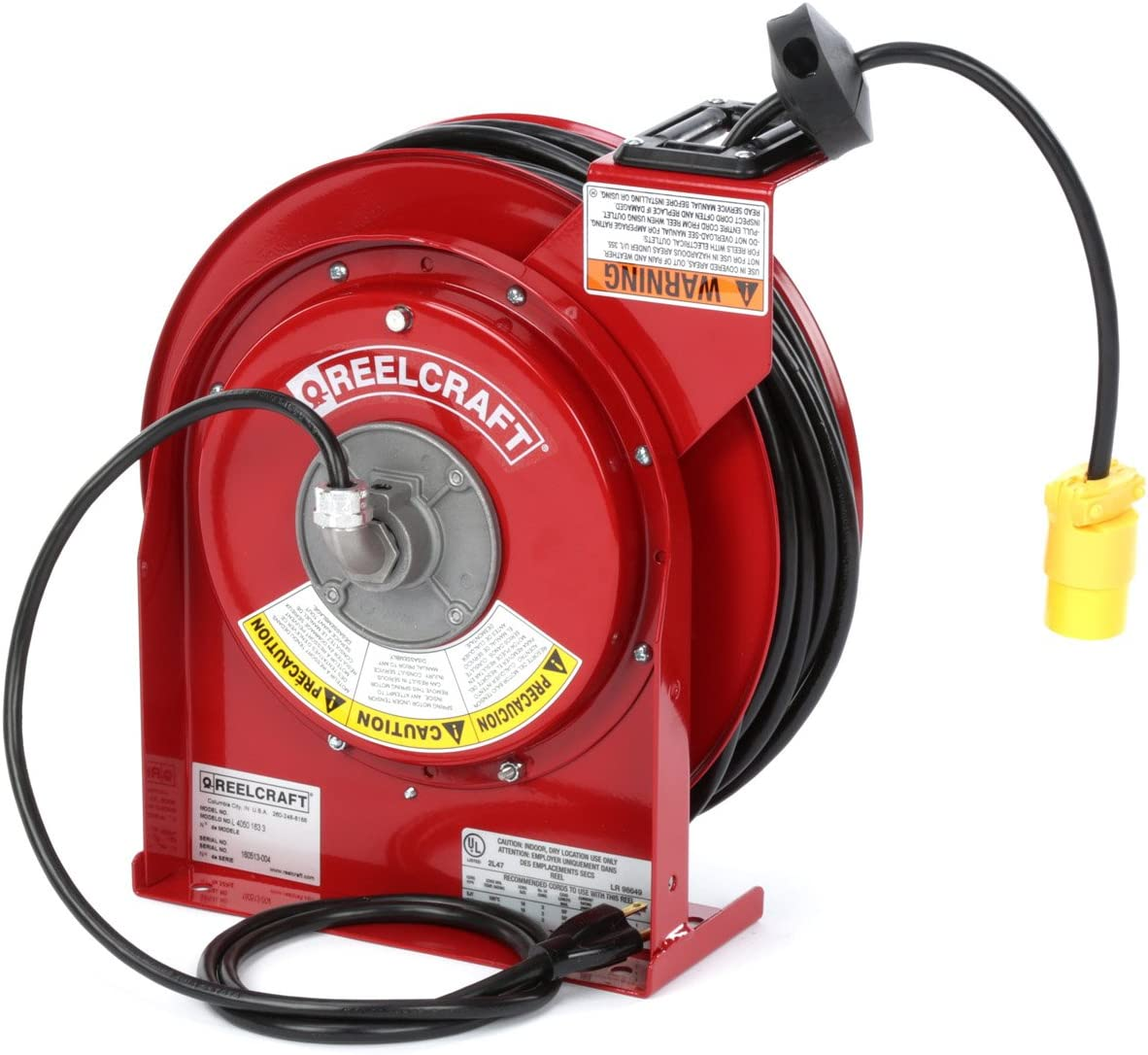 B0000225BA Reelcraft L-4545-123-3 Spring Driven Cord Reel with 45-Feet of 12/3 Cord and Single Outlet 717WVai8kpL