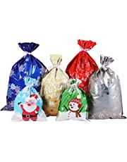 Christmas Gift Bags Large Size Gift Wrapping Assorted Styles Christmas Present Bags Christmas Goody Bags with Ribbon Ties for Christmas Party Xmas Holiday 30PCS