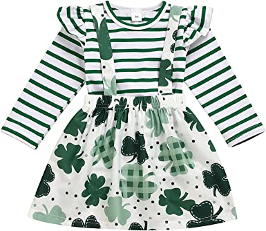 Girls Outfits Set for St Patricks Day Green Short Sleeve Lucky Little Lady Letter Print Tops+Tutu Skirts+Headbands Set