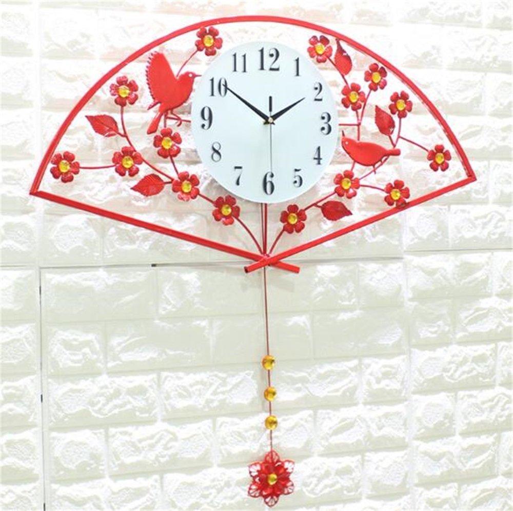 ウォールクロック大サイズのリビングルームベッドルームの装飾ミュート時計ヨーロッパの現代的なシンプルなホームゴールドレッド扇形のクォーツ時計 (色 : 赤) B07D34Z5K3 赤 赤