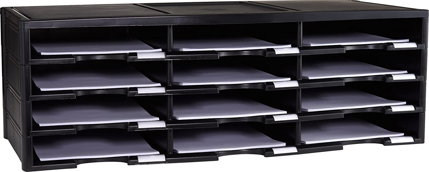 Amazon.com : Storex 12-Compartment Literature Organizer/Document Sorter,  Black (61602U01C) : Modular Storage Systems : Office Products