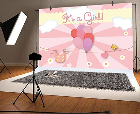 Baocicco 10x10ft Baby Shower Backdrop Hello Baby Backdrop for Photography Pink Baby Blimp Banners Feeding Bottle Pink Stripes Background Birthday Party Baby Baptism Girls Newborn Portrait Studio