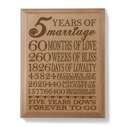 5th Wedding Anniversary Gift.Kate Posh 5th Anniversary Engraved Natural Wood Plaque 5th Wedding For Her For Him For Couple 5 Years Of Marriage 5 Years Together As Husband