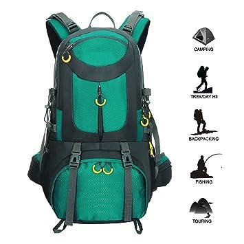 Mochila de senderismo impermeable al aire libre, 50L Mochila de alpinismo de nylon resistente al desgaste ...