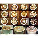 STAR SSTO 16pcs Cappuccino Coffee Stencils Template & 1pcs Coffee Art Pen DIY for Barista Household Coffee Cappuccino Latte Espresso Fancy Coffee Tool Set