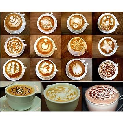 ZAVF16Pcs Coffee Art Stencils Fancy Café Espuma de Impresión de Plantillas Para Decorar la Harina de