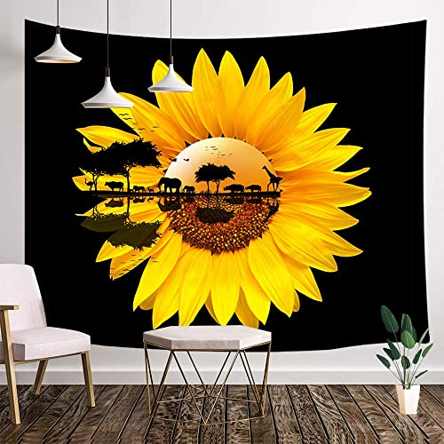 Sunflowers Wall Tapestry, African Wildlife Safari on Rustic Sunflowers at Sunrise in Black Background Tapestry Wall Hanging, Tapestry for Bedroom Living Room Dorm TV Background, 80X60IN