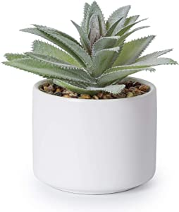 Lvydec Artificial Succulent Plants - Fake Agave Potted Plant with a Ceramic Pot for Home Bath Office Shelf Decoration