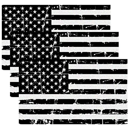 1b76ea0b8f42 Creatrill Reflective Distressed Subdued American Flags Decal Matte Black –  3 Packs 3x5 in. Tactical