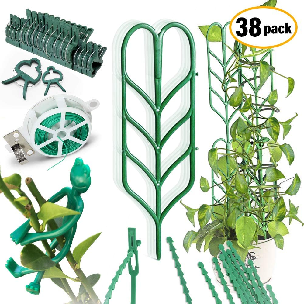 38 Packs Potted Plant Trellis Kits, 6 Garden Trellis for Mini Climbing Plant, 18 Plant Support Clips, 12 Plant Wrap Tie, 1 Frog Shape Twist Tie, 1 Roll of Wrapping Cord for DIY Garden Climbing Plant