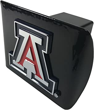 University of Arizona METAL emblem with colored trim on black METAL Hitch Cover AMG