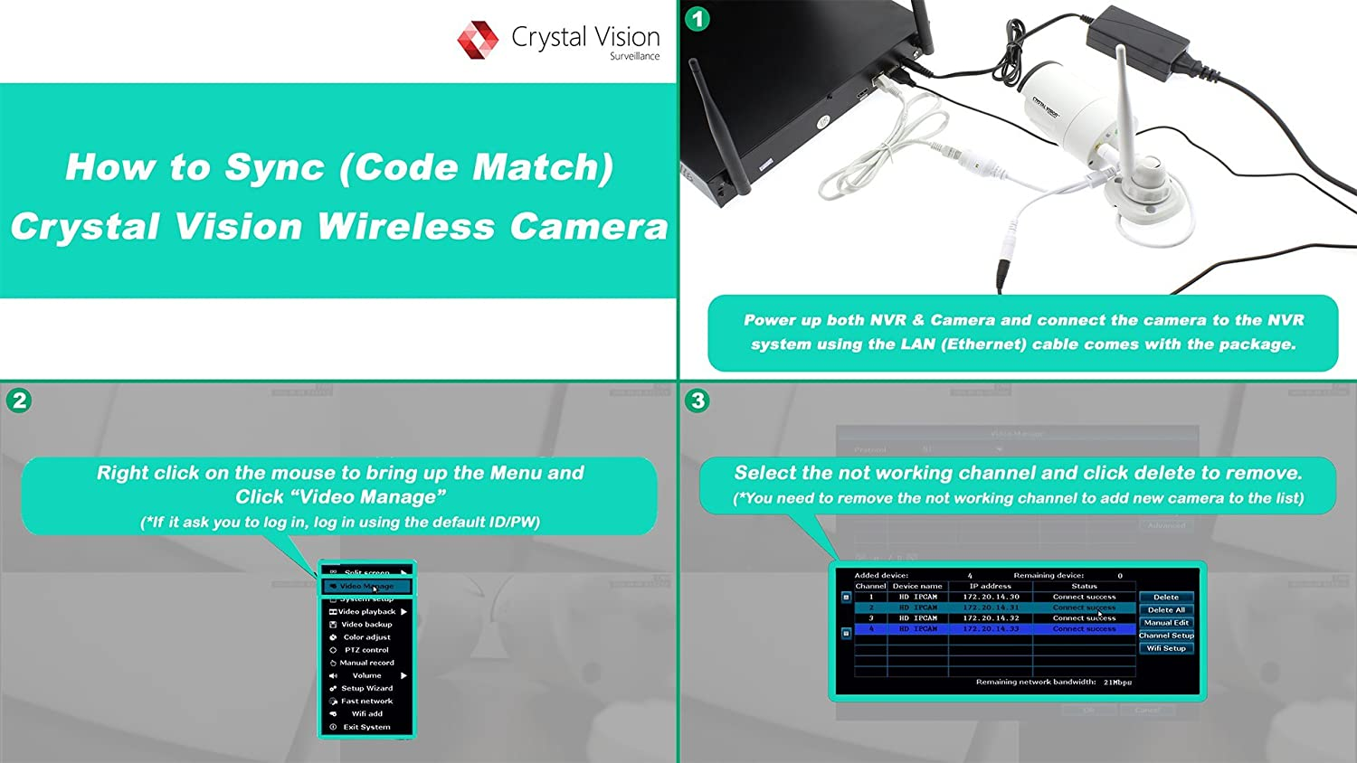 Crystal Vision Cvt 3010w Wireless Add On Camera For Diagram Cvt9608e Replacement Cvt9604e Home Improvement