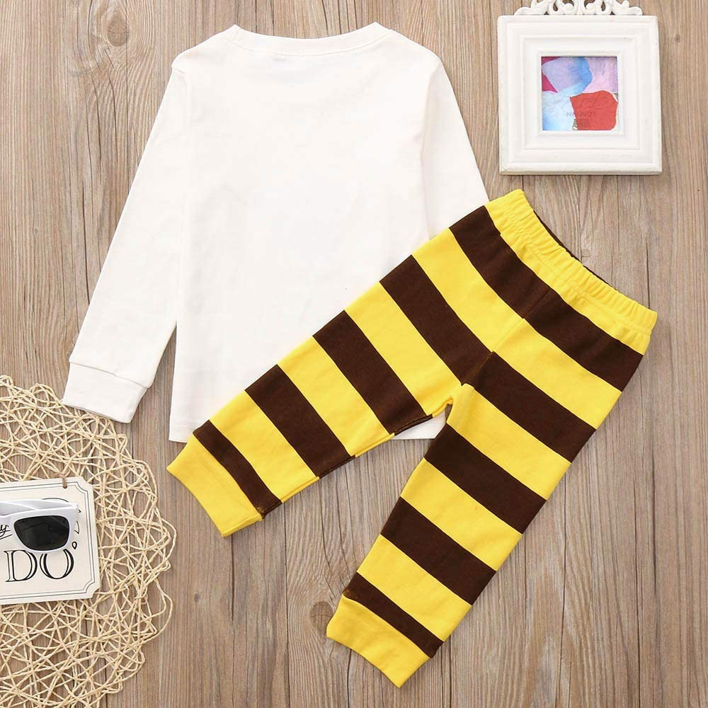 Memela Baby Clothes,2PCS Children Kids Boys Girls Cartoon Bee Print Blouse+Pants Outfits Set