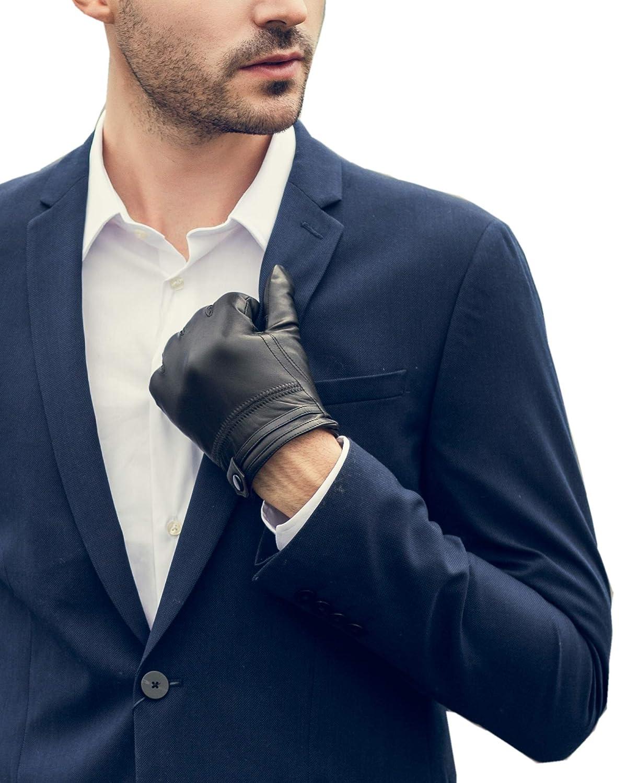 YISEVEN Guanti in pelle di montone touchscreen per uomo Skin Tight