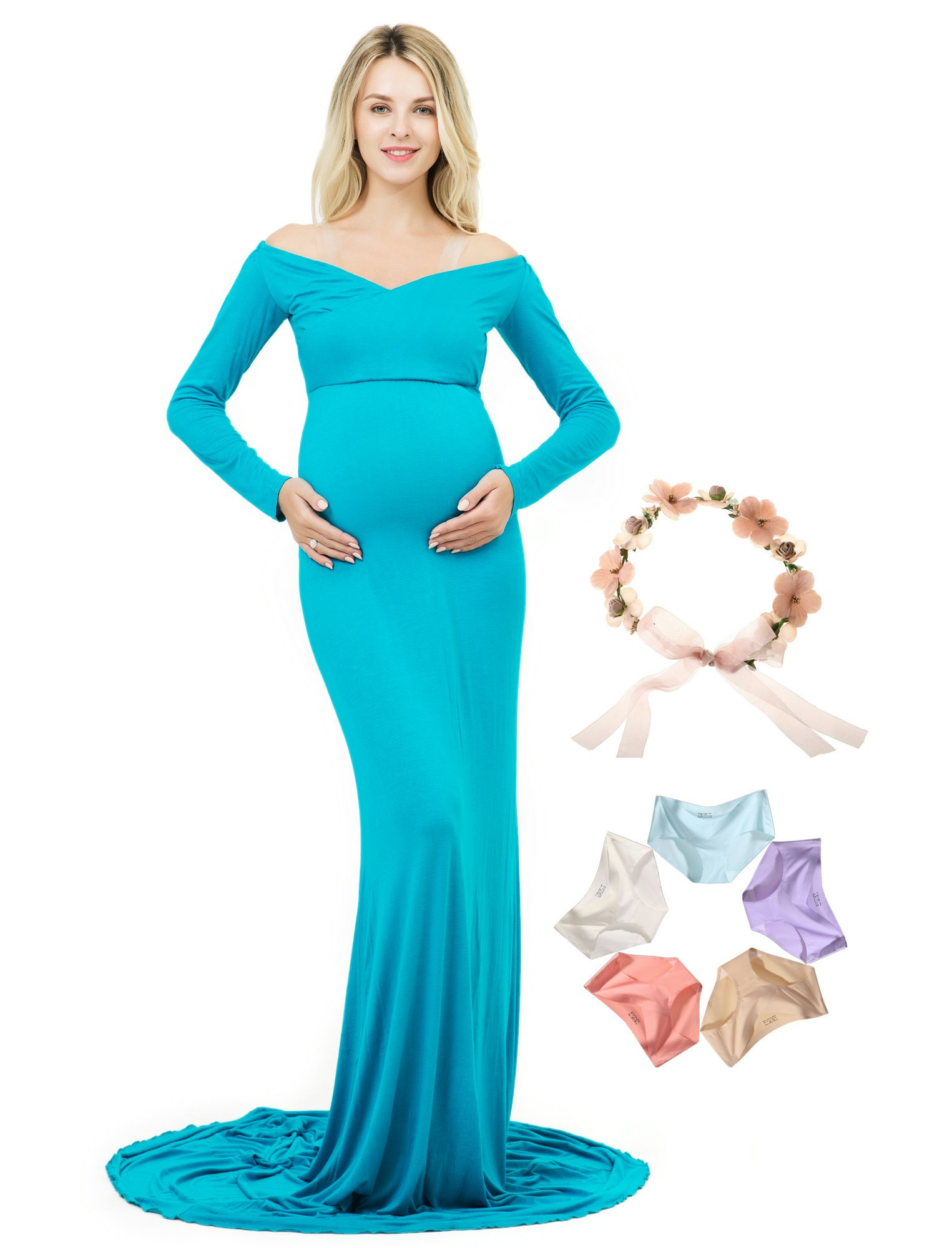 Photoshoot Maternity Dress Long Sleeve Off Shoulder V-Neck Photography Gown (Turquoise, L)