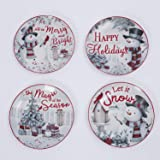 Set of Four 8-Inch Ceramic Holiday Snowman Plates