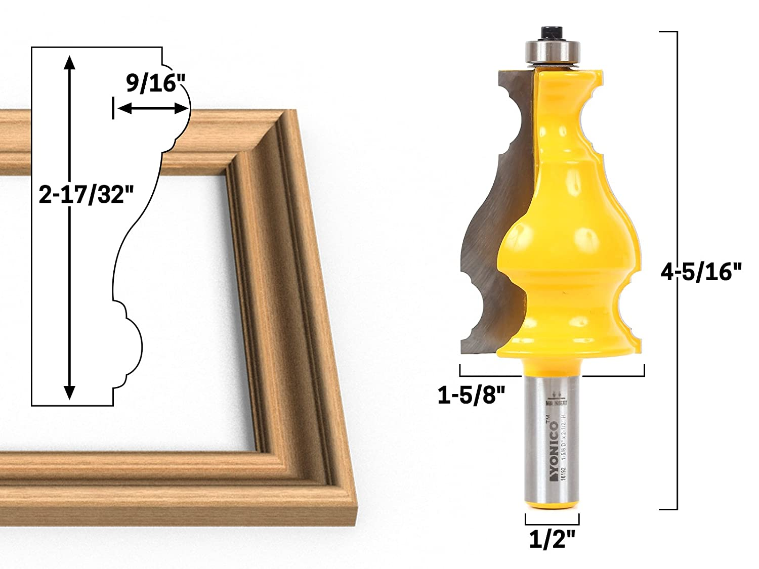 Yonico 16192 Large Elegant Picture Frame Molding Router Bit 12 Inch Shank