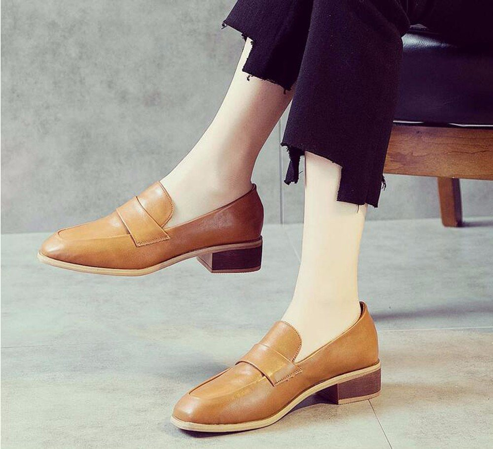GTVERNH-Einfache Schuhe Weiblich Grob Frühling Alles Passt Retro cm Square Schuhe Schuhe.
