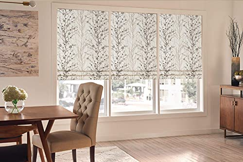 Roman Shades Blackout Window Shades, Plum Blossom Lined Custom Floral Roman Shades Blinds for Windows, Doors, French Doors, Kitchen Windows