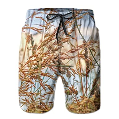 fc2cc8269d Amazon.com: Nature Landscape Grass Men's/Boys Casual Swim Trunks Short  Elastic Waist Beach Pants with Pockets: Clothing