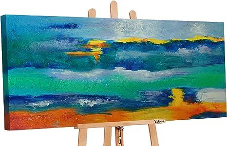 Grigio Quadri Dipinti a Mano 120x60 cm Dipinti a Mano Colori Acrilici Buon Incontro Pittura Quadro Dipinto a Mano Dipinti Modern PS 002 YS-Art Premium