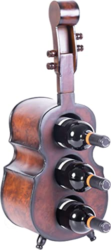 Vintiquewise Wine Rack Wooden 3 Bottle Violin Vintage Decorative