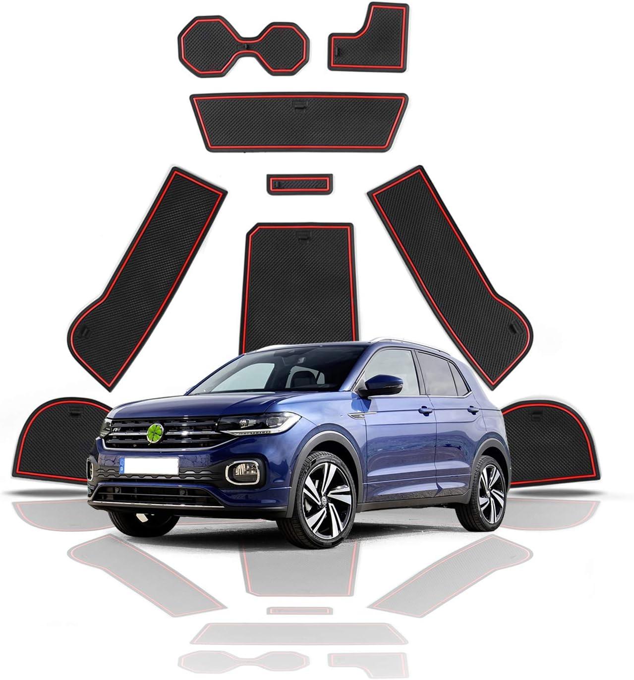 RUIYA T-Cross de goma antideslizante Esterillas antideslizantes para interior de coche con espacio para el brazo