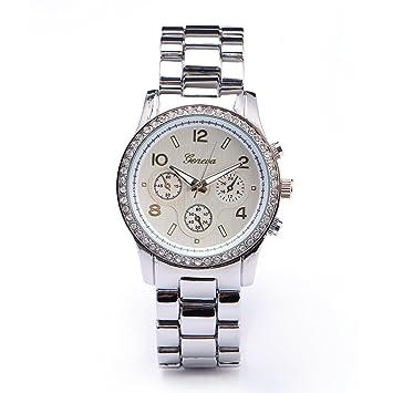 CLE DE TOUS Reloj de Pulsera de Cuarzo para Mujer Metal Aleacion Color Plateado: Amazon.es: Deportes y aire libre